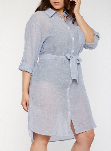 Plus Size Marled Tab Sleeve Shirt Dress with Belt,BLUE/WHITE