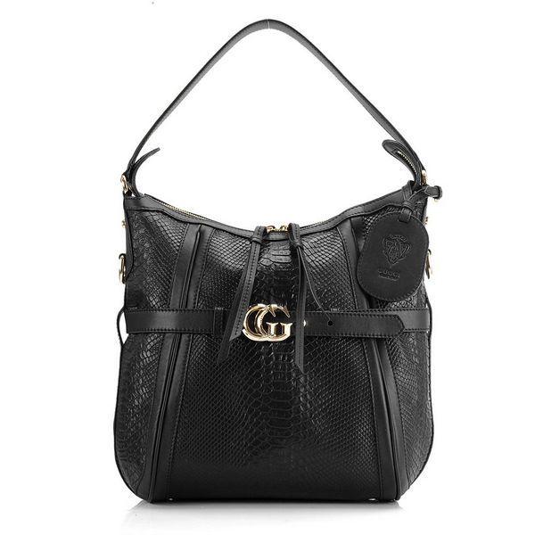 7963dd5ed11 Gucci GG Running Python Medium Hobo Bags 247185 Black