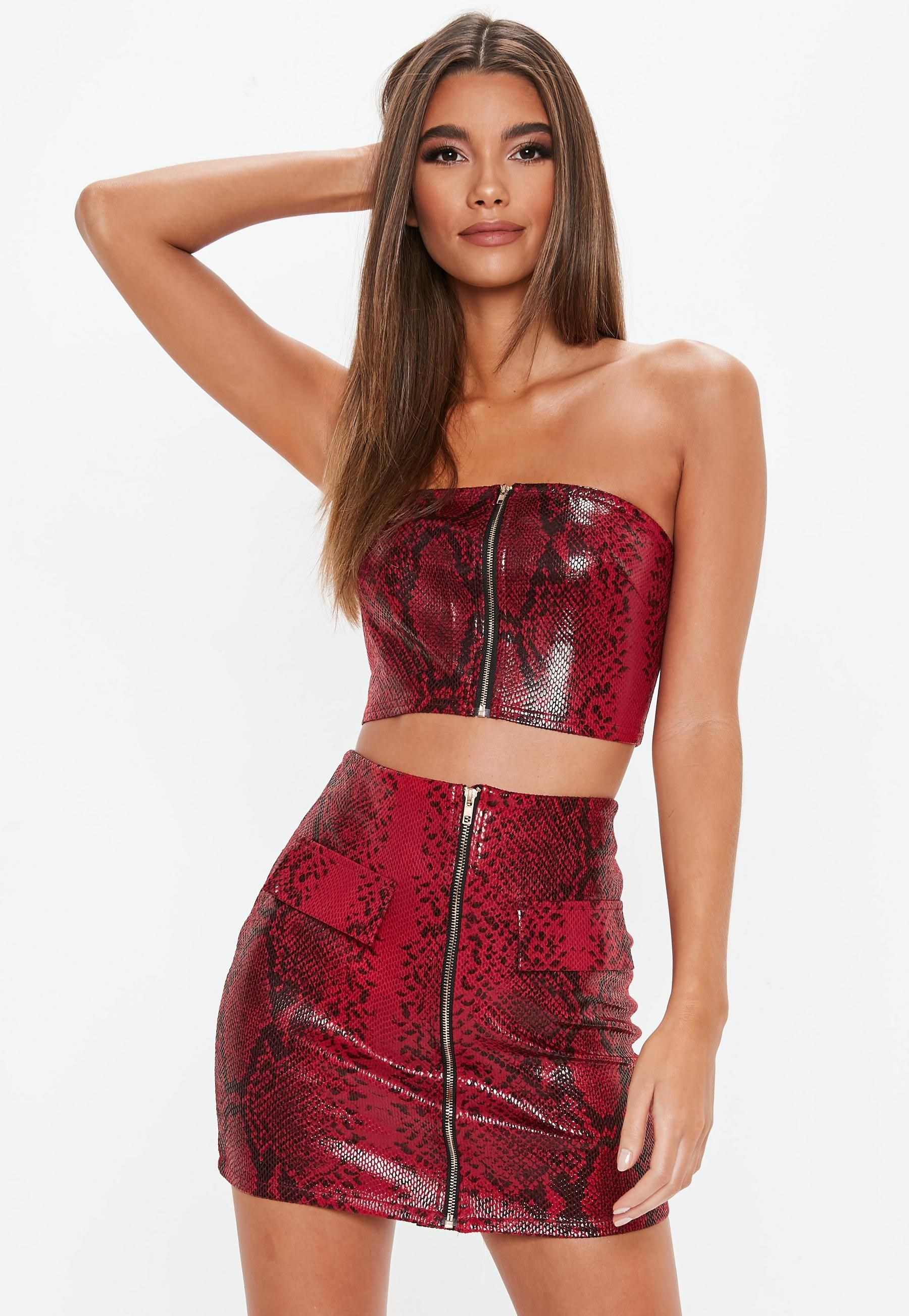 e90b25d6fceb5 Red Snake Bandeau Mini Skirt Co Ord Set | Missguided | NASHVILLE ...