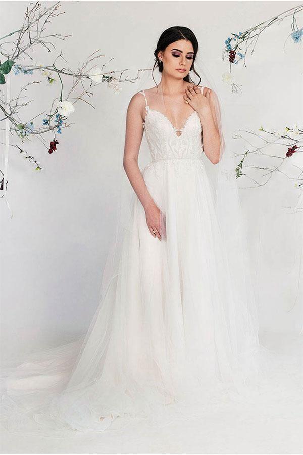 f1d4228058d A line V neck Sleeveless Romantic Wedding Dress with Straps   vneckweddingdress  alinewedding dress  bridal