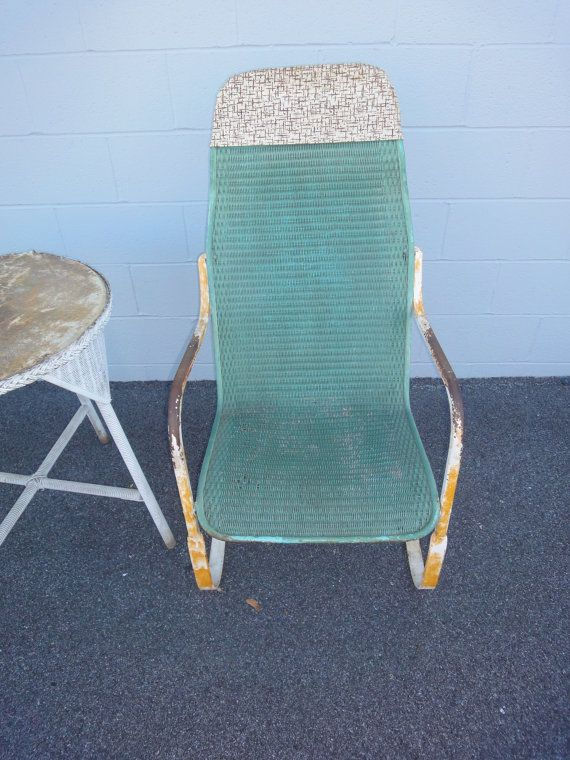 1920 S Wrought Iron And Wicker Rocker Bouncy Chair Patio Chair