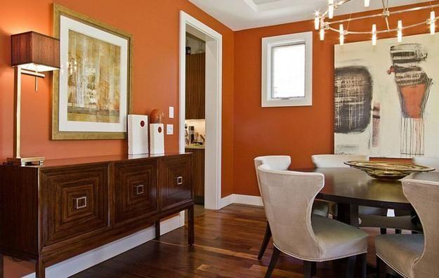Modern Dining Room Decorating Ideas Orange Paint Colors And Wallpaper Living Room Orange Orange Living Room Walls Burnt Orange Living Room Rust colored walls living room