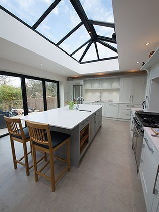 Painted Grey Shaker Style In Frame Kitchen In Kent Kitchen Design Kitchen With Long Island Shaker Style