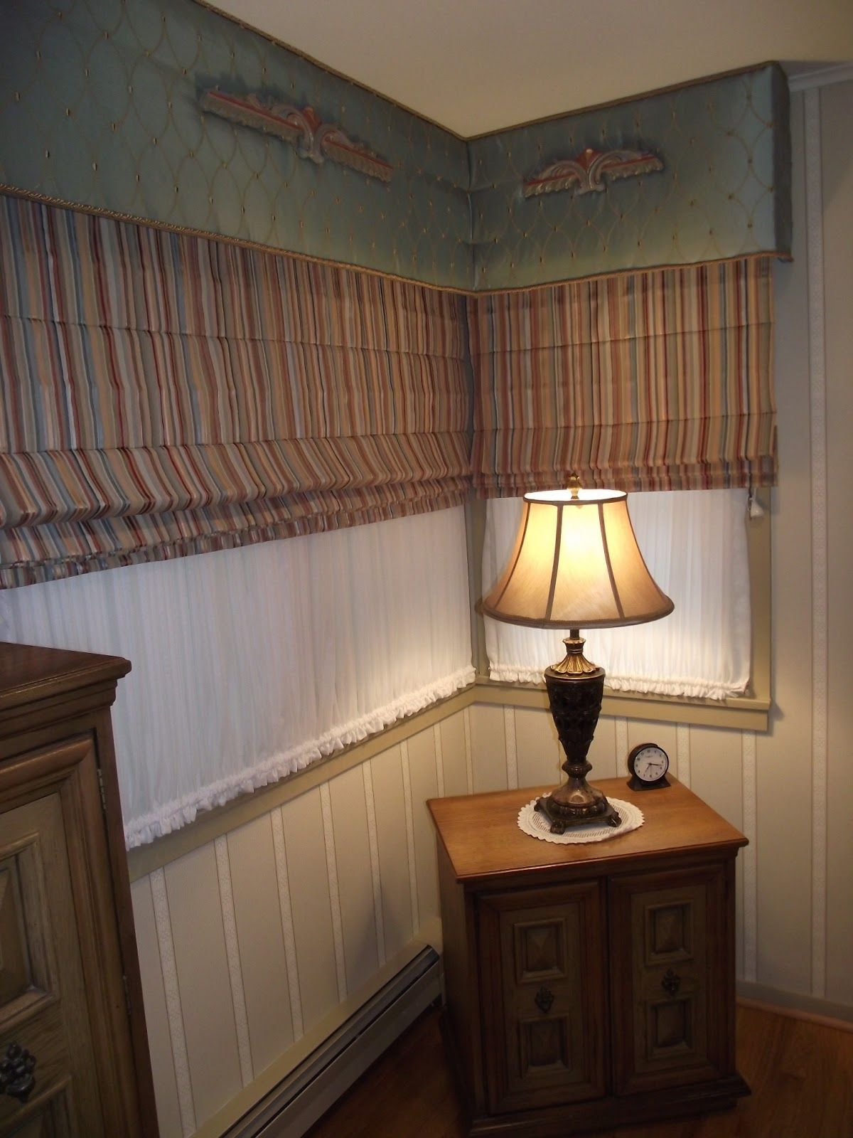 Upholstered Cornice Board For A Corner Window With Sheers For