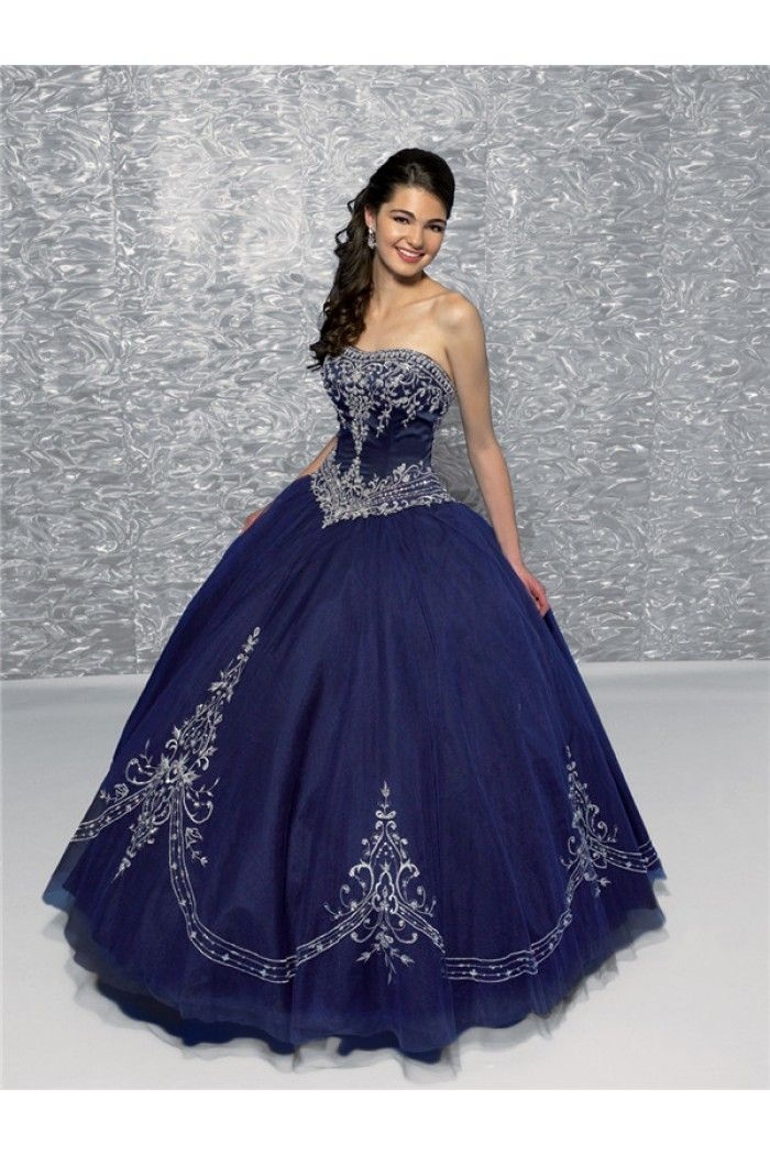 Unique Ball Gown Strapless Dark Navy Blue Satin Tulle Embroidered ...