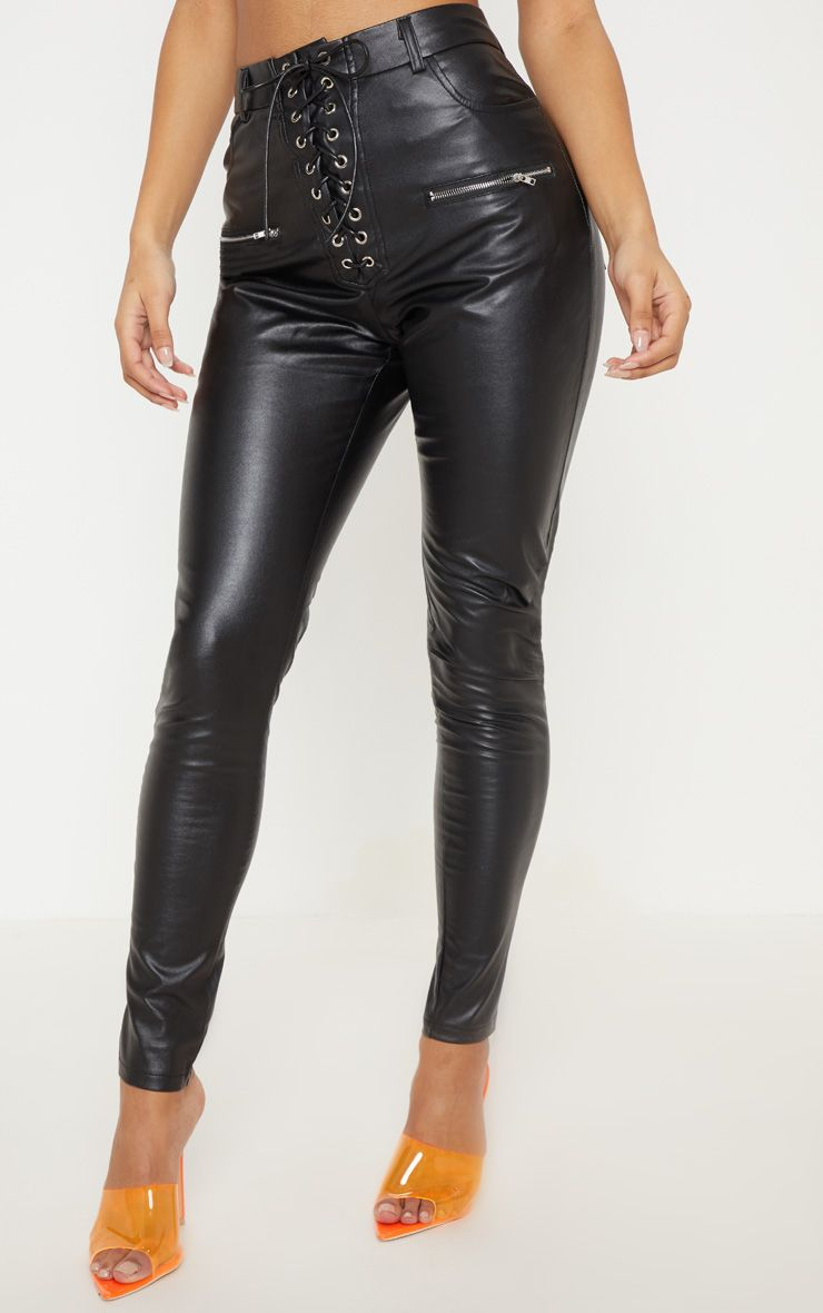Black Faux Leather Lace Up Front Skinny