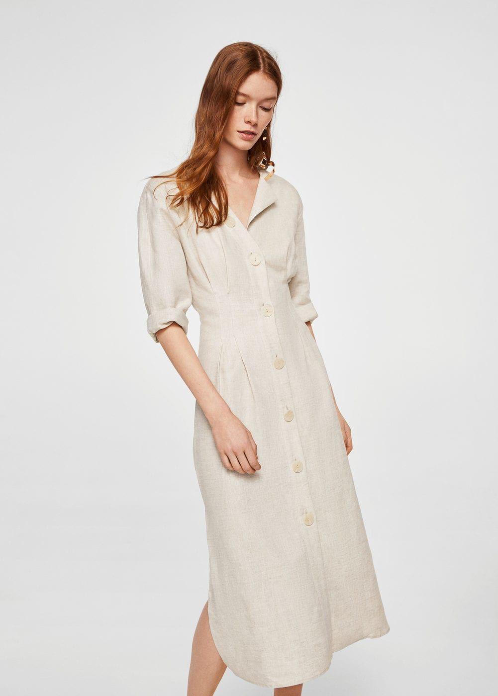 Linen fabric Round neck Button front Side slits de6228c4504b