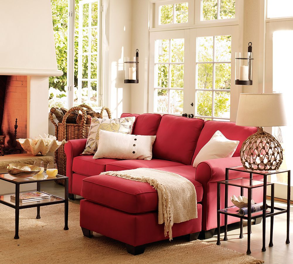 Currently loving the idea of a red couch armchairs chaises