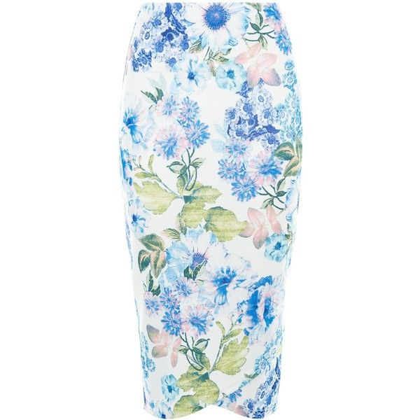 new look white floral print wrap front pencil skirt 163 15