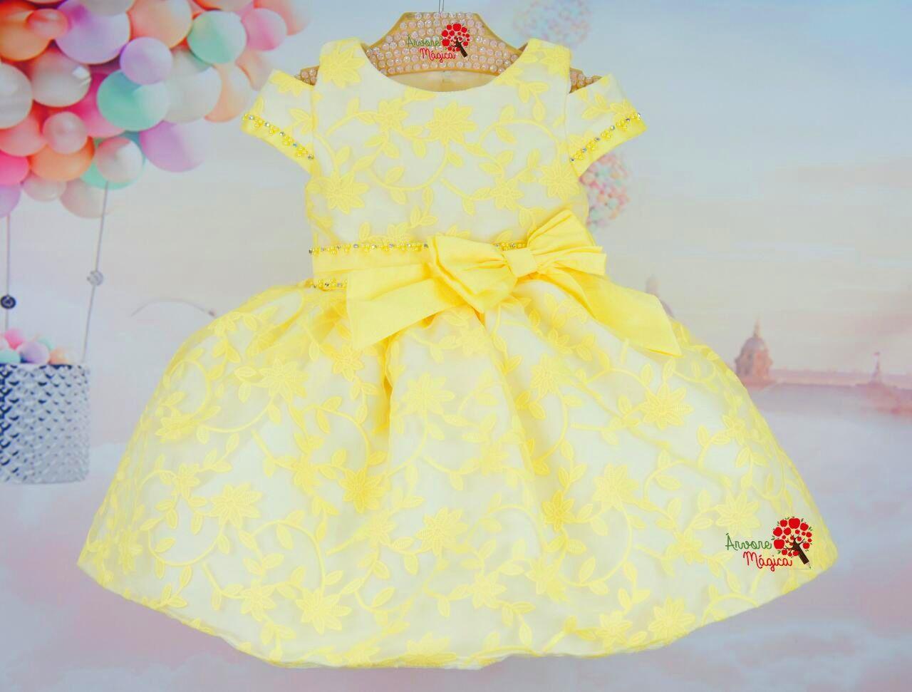 279f8db7c Vestido de Festa Infantil Amarelo Petit Cherie | Moda infantil ...