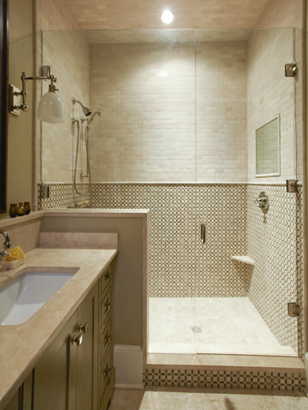master shower love the small tile on bottom big tiles on top seamless glass