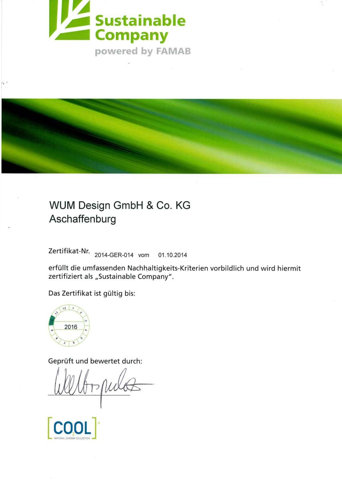 Zertifikat #Nachhaltigkeit Sustainable Company #famab   Messebau ...