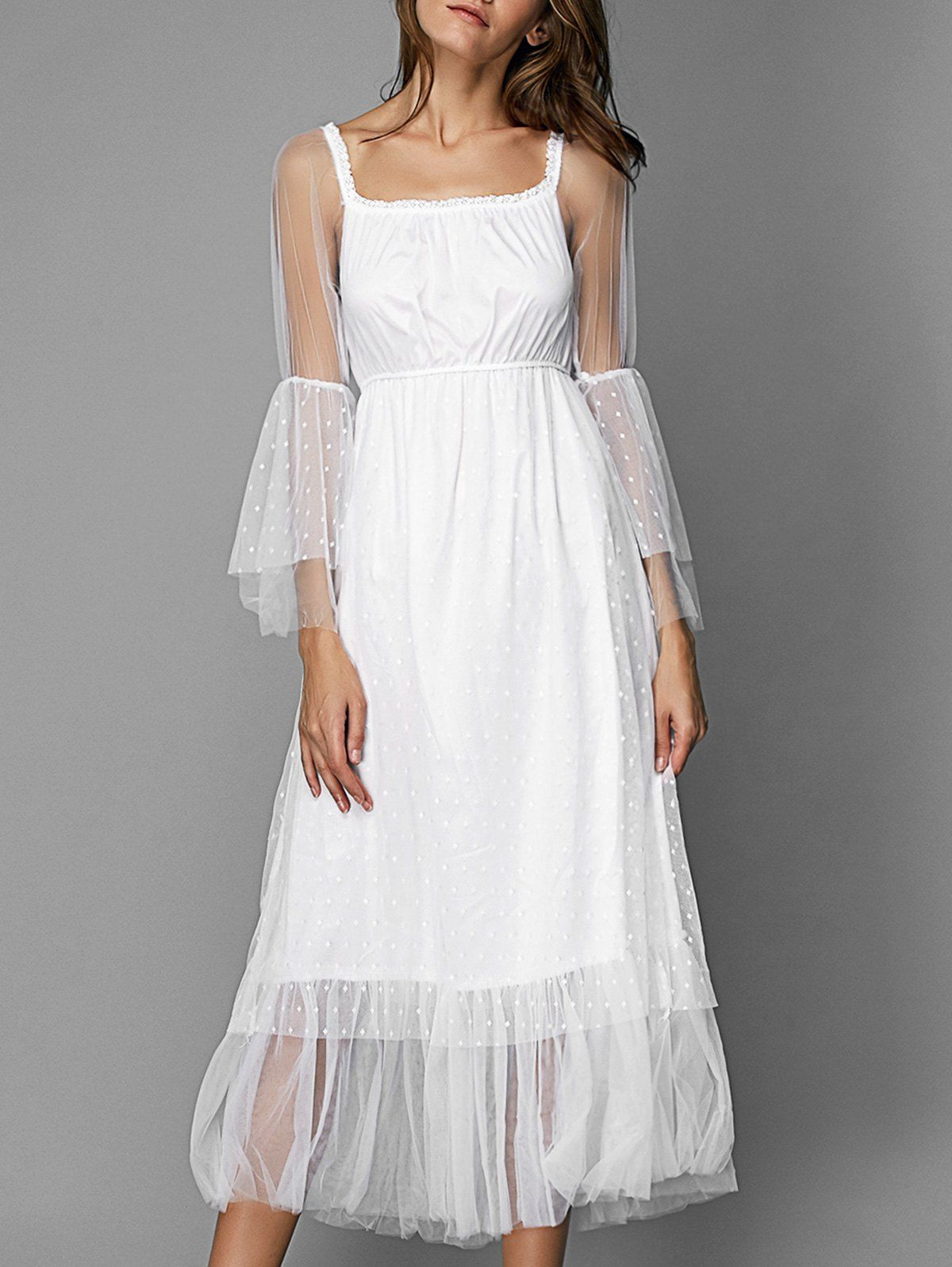 Elegant tulle overlay square neck long sleeve dress for women