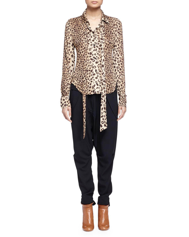 Leopard-Print Sash-Detailed Blouse, Size: X-SMALL, Multi - Chloe