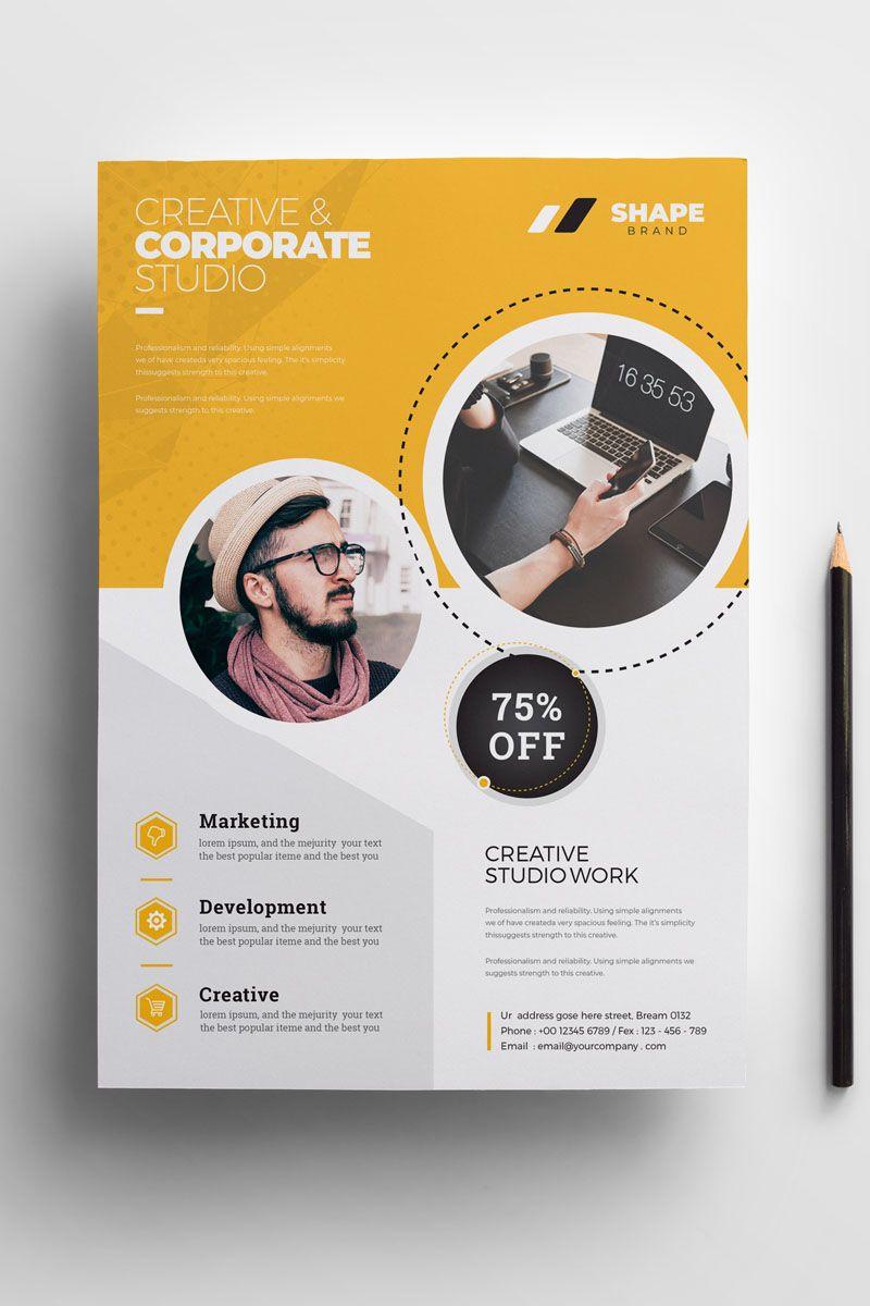 Shape Flyer Corporate Identity Template 84692 Graphic Design Flyer Flyer Design Templates Flyer Design Inspiration