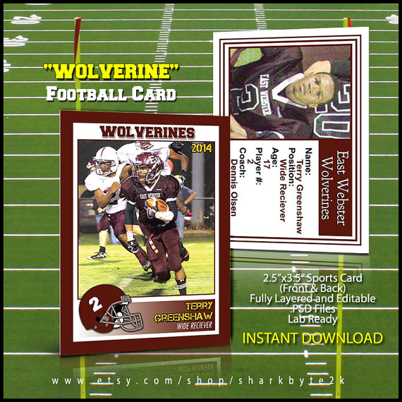 2020 Football Sports Trader Card Template For Photoshop Etsy Photoshop Template Design Card Template Cards