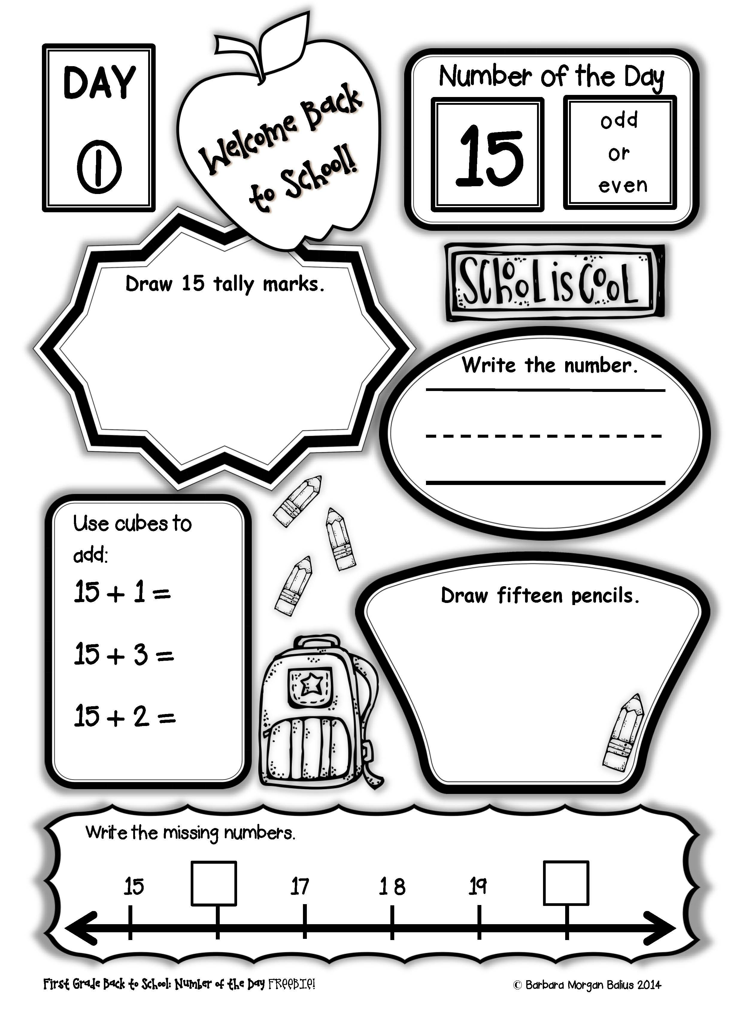 First Grade Number Of The Day Freebie With Images First Grade