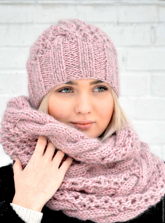 Купить Комплект вязаный «Розовая пудра»,шапка и снуд - розовый, шапка вязаная, шапка женская