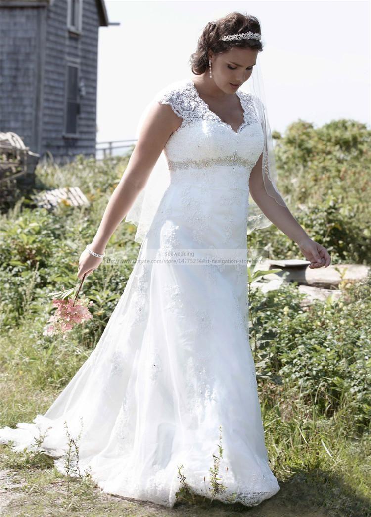 Discount Vintage Plus Size Lace Wedding Dresses Empire Waist V Neck