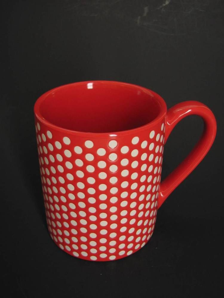 The Food Network Red with White Polka Dots Coffee Mug Cup Ceramic ...