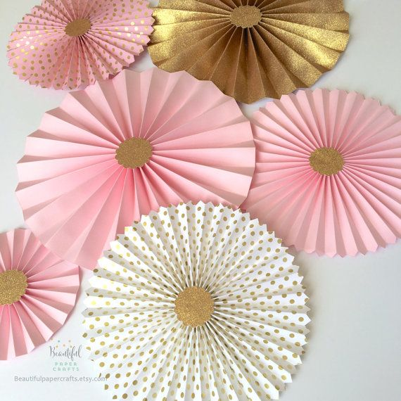 Pink and Gold Glitter  Paper Fan Backdrop  by BeautifulPaperCrafts