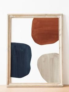 Photo of Abstract Printable wall art Navy and terracotta Mid century modern Print Downloadable Organic shapes