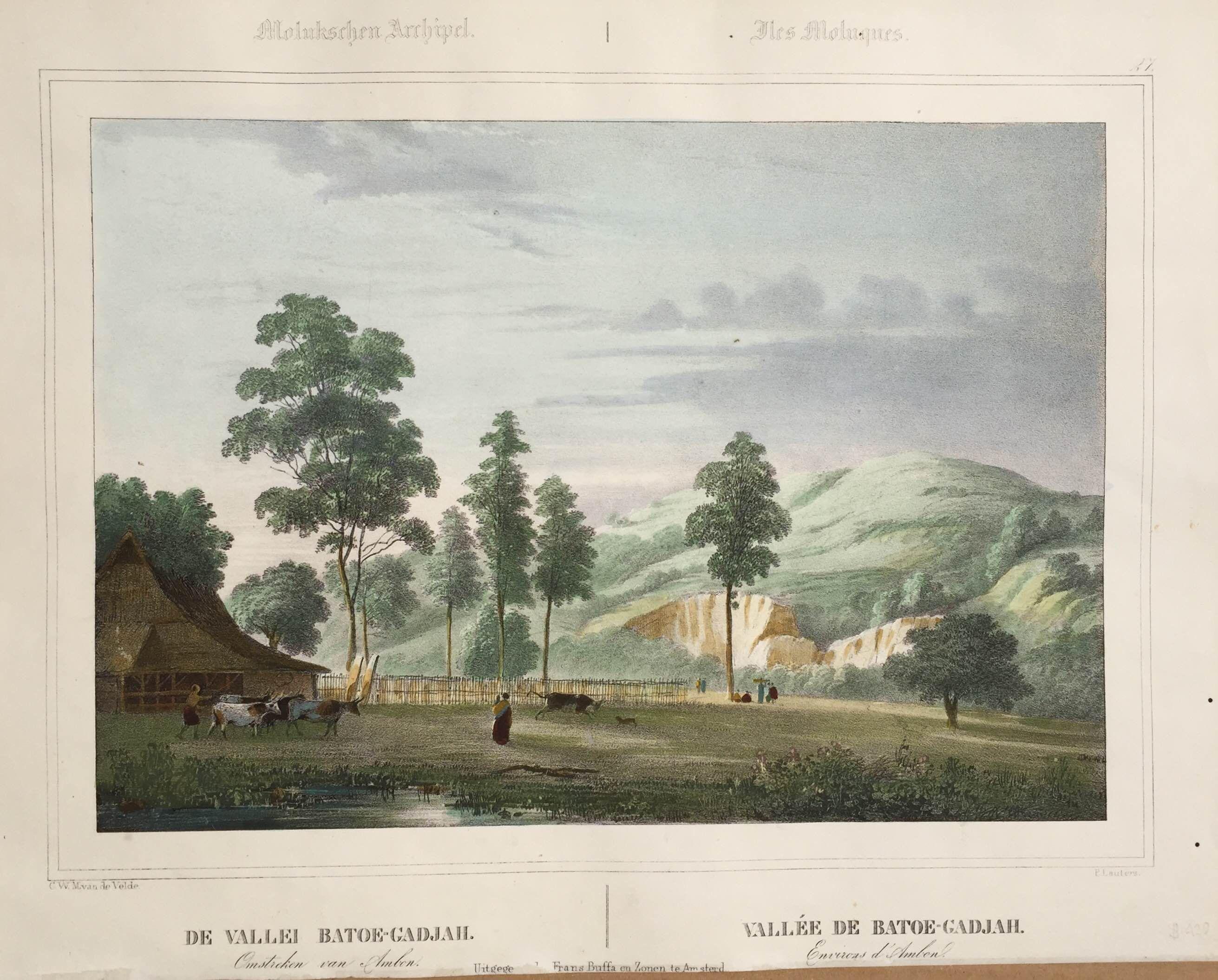 De vaillei Batoe-Gadjah Ambon circa 1845 - Litho Paulus Lauters (1806-1875).
