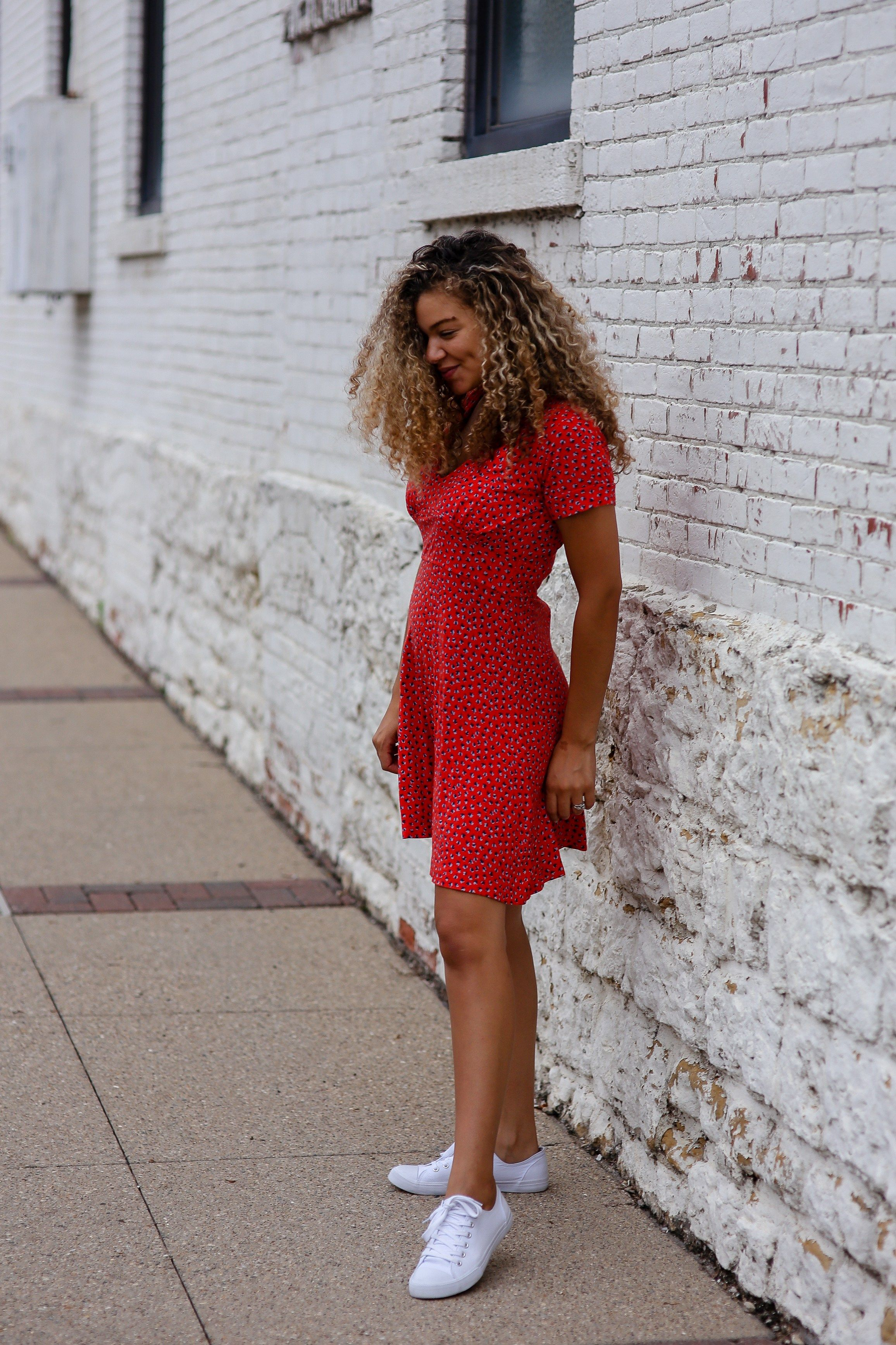 red dress white sneakers