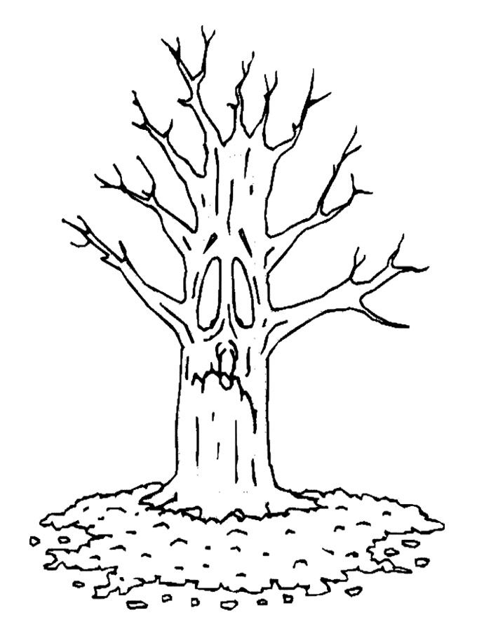 bare tree sad coloring page - Coloring Page Tree 2