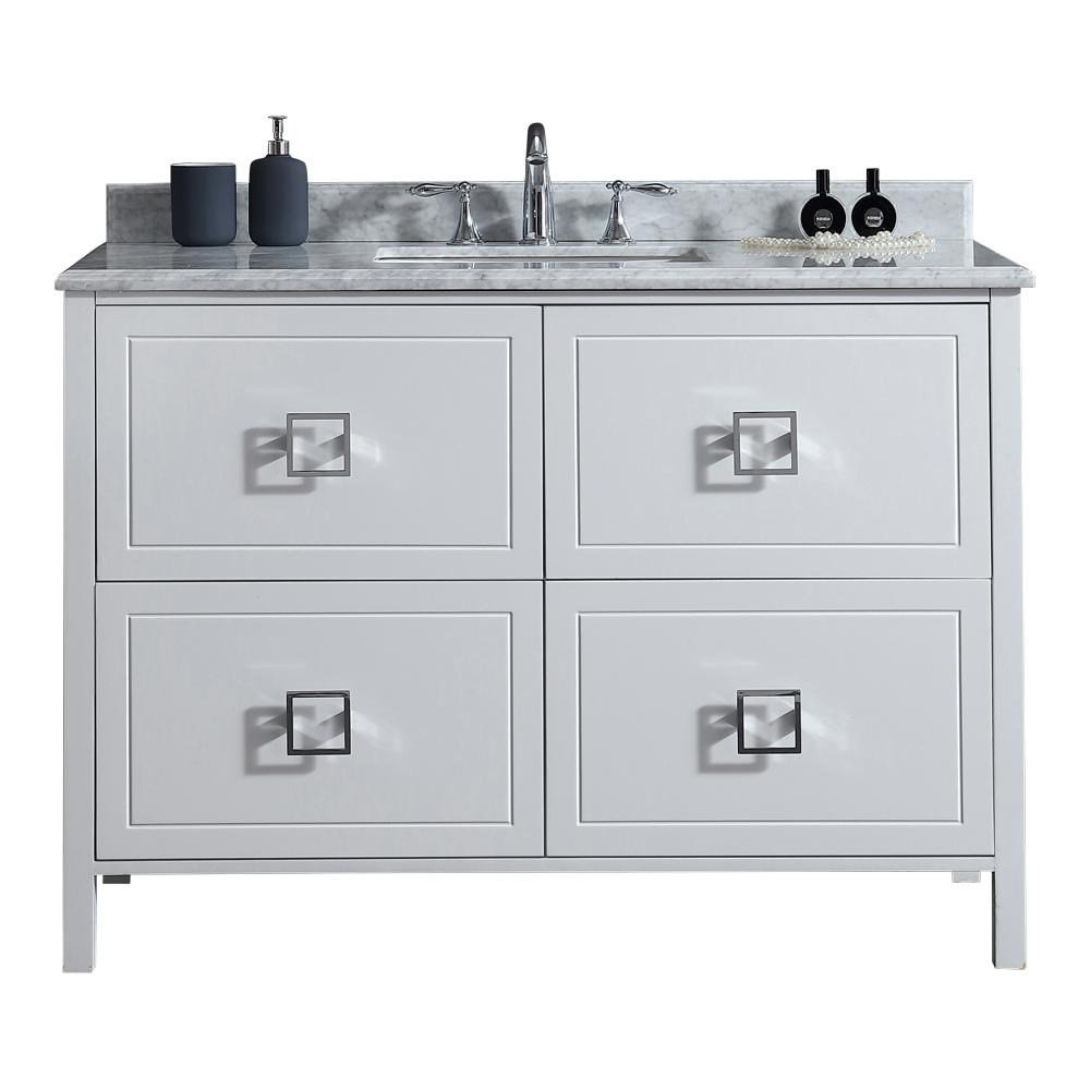 Ove Decors Drexel 48 In W Vanity In White With Marble Vanity Top In White With White Basin Marble Vanity Tops White Sink Vanity Top