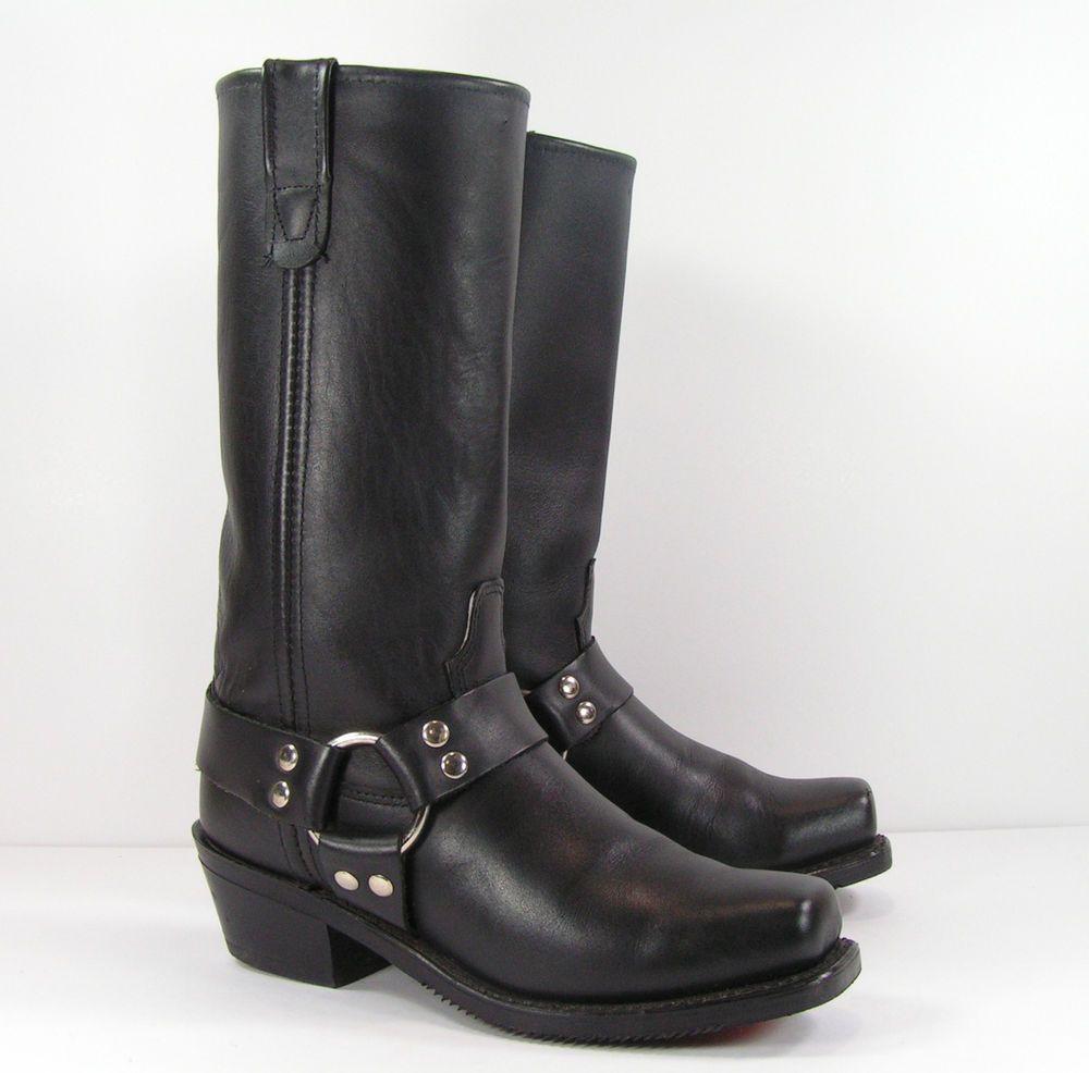 b44cb0eeba68d double h harness cowboy boots womens 8 M B black leather biker ...