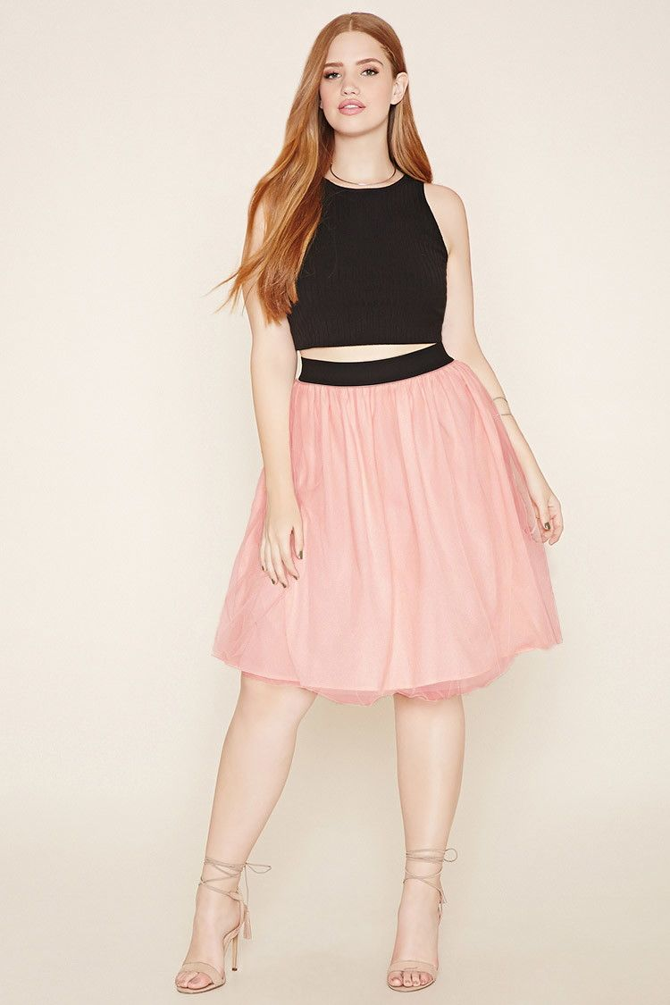 Forever 21+ - A woven A-line skirt with a tulle overlay and a ...