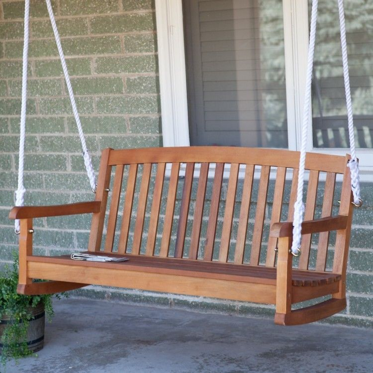 Wooden Porch Swing Outdoor Hanging Seat Bench