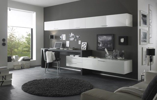 Wall Unit Desk Combo Modern White Living Room And Led Television Book Shelves Brown Microfiber Sofa Ottoman Coffee Table Rug Cabinet