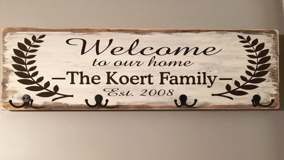 Wall Coat Rack Personalized Welcome To Our Home Family Coat Rack Wall Rustic Wooden Sign Diy Coat Rack