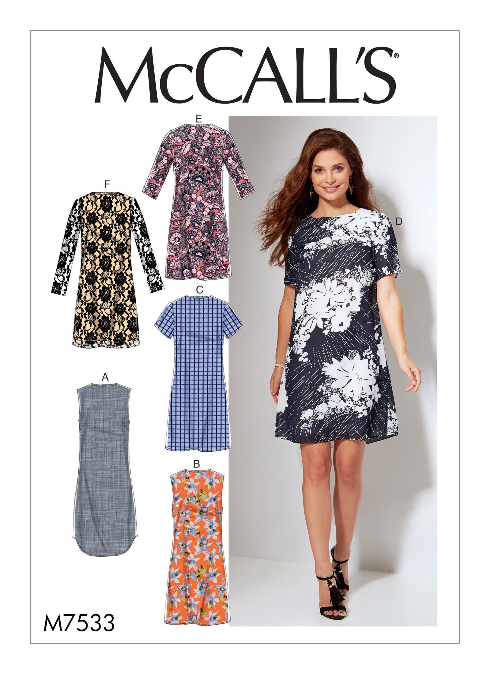 mccalls 7533 misseswomens fitted sheath dresses