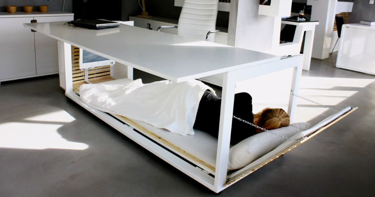 Nap Desk That Converts Into Bed And Lets You Sleep At Work Bed Desk Convertible Desk Desk Design