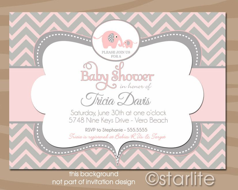 Elephant Baby Shower Invitation - Pink and Gray Grey Chevron - Baby ...
