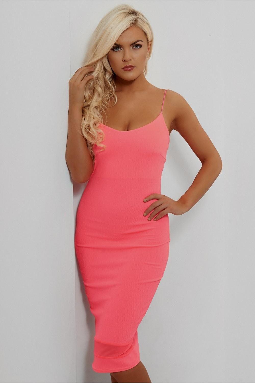 Hot Pink Dress - Bodycon Dress - Midi Dress - $48.00