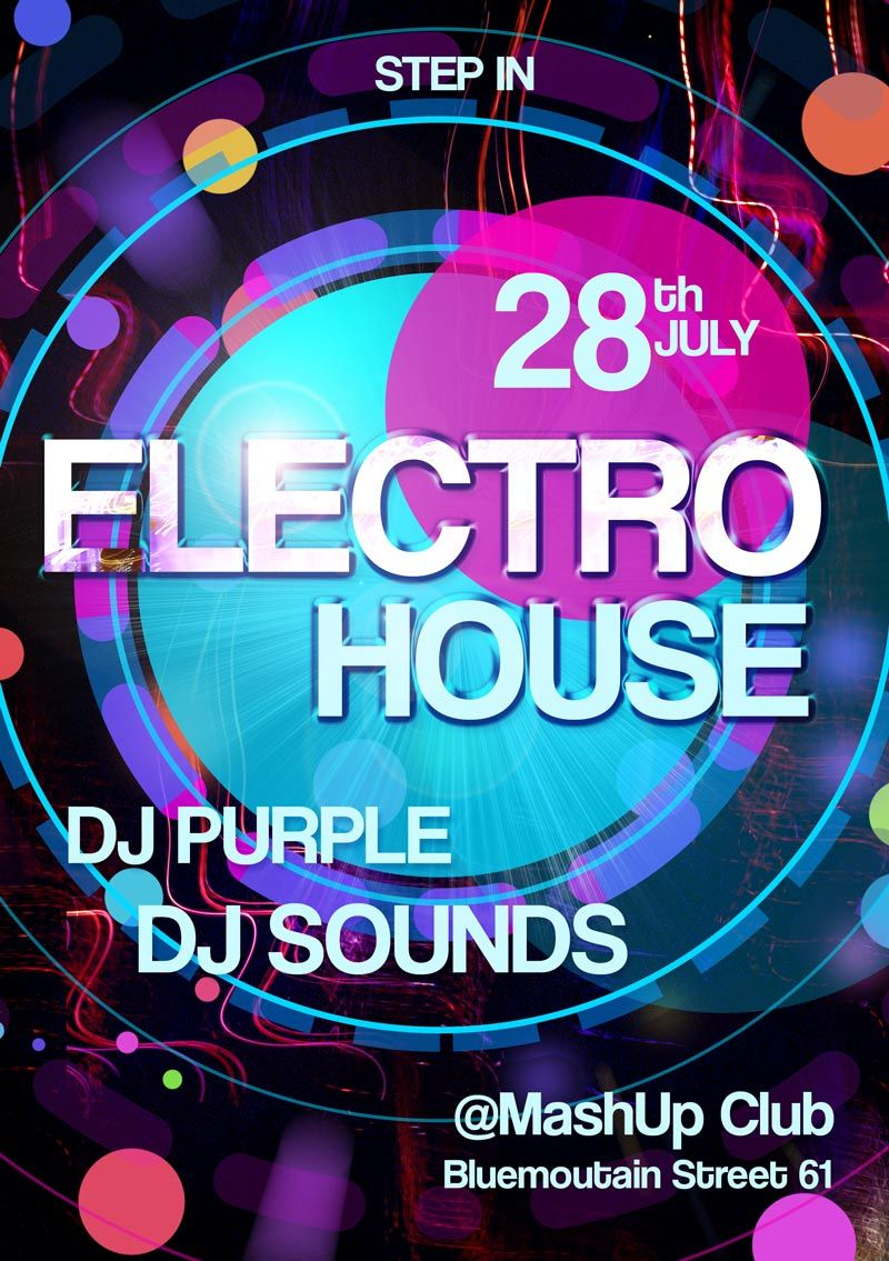 Electro House Party Free PSD Flyer Template - FreePSDFlyer http://www.freepsdflyer.com/electro-house-party-free-psd-flyer-template/