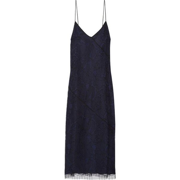 Jason Wu Guipure lace slip dress ($1,450) ❤ liked on Polyvore featuring dresses, jason wu, blue dress, midnight blue lace dress, lacy dress, blue floral dress and flower print dress