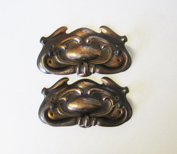 2 Art Nouveau Drawer Pulls With Copper By Thewhistlingman On Etsy