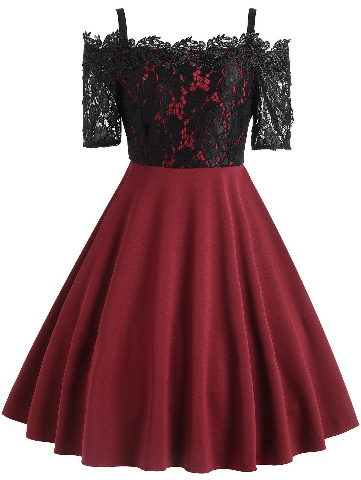 1950s Lace Patchwork Swing Dress In 2020 Lace Panel Dress Vintage Red Dress Red Floral Dress [ 1596 x 1200 Pixel ]