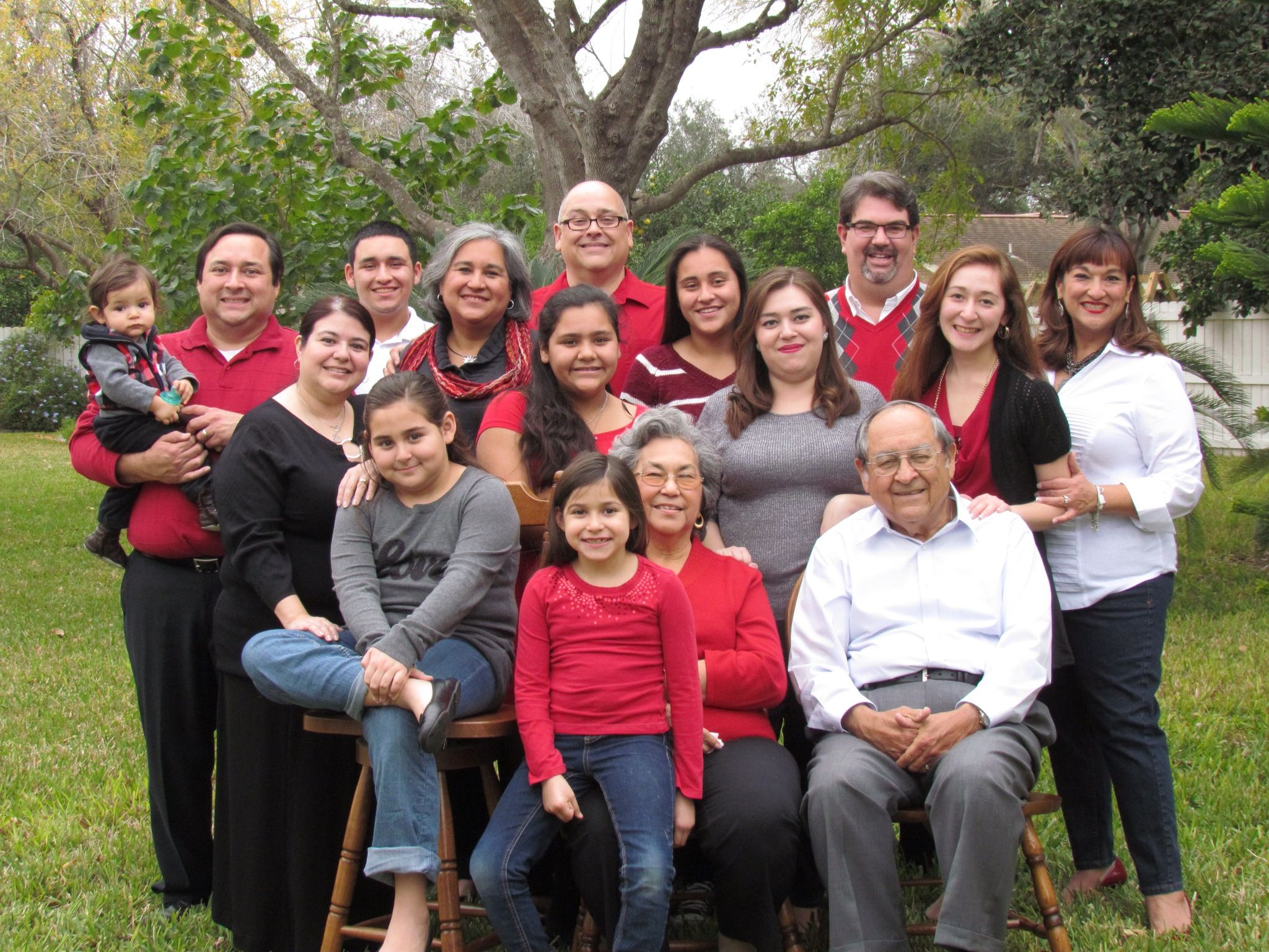 Large family casual photo. Our color palette was red, gray, black ...