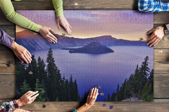 Crater Lake National Park, Oregon - Aerial View (20x30 Premium 1000 Piece Jigsaw Puzzle, Made in USA #craterlakenationalpark