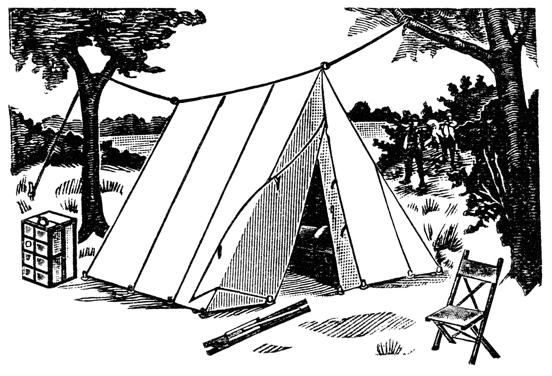 Old Fashioned Tent Vintage Camping Clipart Wedge Tent
