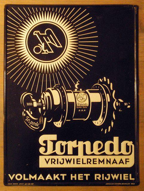 Torpedo Hub advertisement tin plate