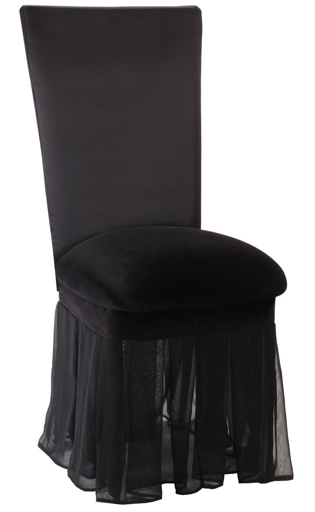 Black Rosette Chair Cover With Black Velvet Cushion And Black Chiffon Skirt Events Eventdesign Eventdecor Weddi Fancy Chair Unique Chair Covers Chair Style