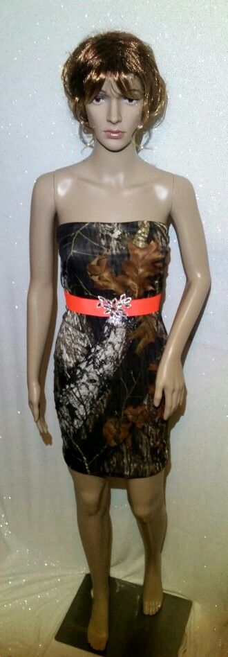 Black dress with camo sash