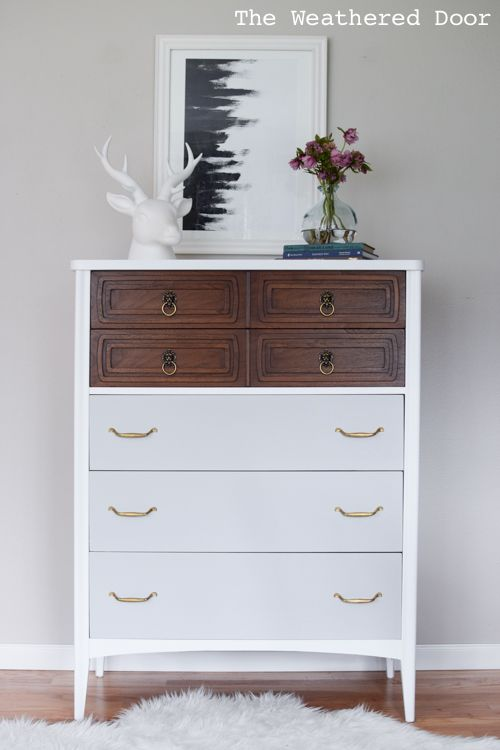 Tall And Modern Mid Century Dresser In White Wood